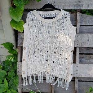 🚨NEW LIST! Crochet Button Fringed Cardigan Poncho